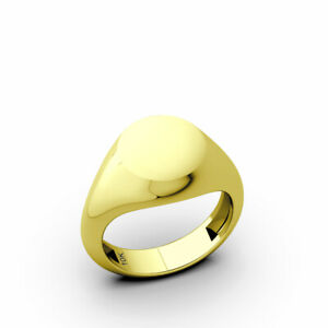 Classic Mens Blank Round 10k Yellow Gold Pinky Signet Ring For Men 6 to 9 Sizes