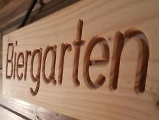 BIERGARTEN - Holzschild mit gefräster Gravur, Holz Douglasie massiv, Blickfang
