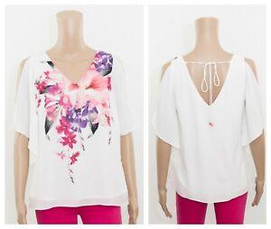 exF&F White Cold Shoulder Floral Print Summer Lined Blouse Top