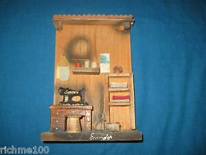 VTG Assemblage 3D Shadow Box Wall Hanging Wooden Sewing Room w/ Singer Machine
