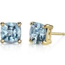 14K Yellow Gold Cushion Cut 1.50 Carats Aquamarine Stud Earrings