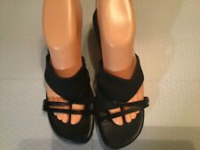"GEORGE LADIES SIZE 7.5 SLIP ON STRAPPY OPEN TOE 2 1/2"" HEEL SANDALS PREOWNED"