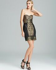 NICOLE MILLER Lace Leather Strapless black/gold Cocktail DRESS Sz 6
