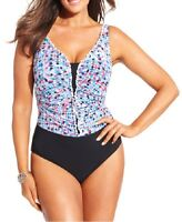 Profile By Gottex One Piece Sz 22W Black Blue Multi Swimsuit Swimwear E515-2W81
