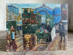 Small Antique French Oil Painting on Wood Panel. c1920 Paris Cityscape.