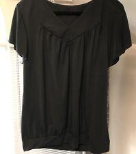 V-neck Knit Top With Flutter Cap Sleeves ...Black... Size Large Gathered Hem