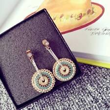 Women National Style Round Earrings Handmade Drop Dangle Rhinestone Earring Gift