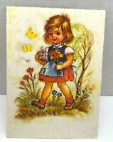 Little Girl With Gift and Flower Bouquet Vintage Postcard Unposted Germany