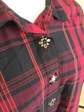 NWT $70 Tommy Hilfiger Classic Fit XL Purple Plaid Button Down w/Embellishment
