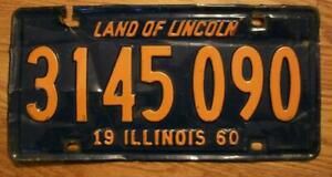 SINGLE ILLINOIS LICENSE PLATE - 1960 - 3145 090 - LAND of LINCOLN