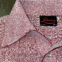 Vtg 50s 60s LAHMAR Sweater Shirt S/S Red Knit Polyester Mid Century MENS MEDIUM