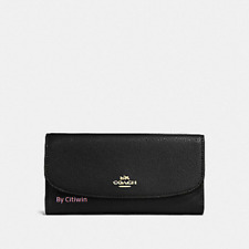 New NWT Authentic Coach F16613 Pebble Leather Checkbook Wallet Black