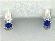 Diamond and Sapphire Huggie Style Earrings 14k WG w/0.08ct Diamonds+0.45ct Saph