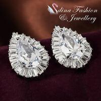 18K White Gold Plated Simulated Diamond Glamorous Teardrop Wedding Stud Earrings