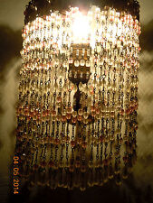 VINTAGE PINK & CLEAR  BEADED LAMP SHADE WITH TOLE FRAME