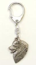 Samoyed Head Silver Keyring