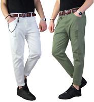 Jeans Uomo Nero Casual Slim Fit Pantalone Bianco Verde Strappato 5 Tasche Cotone