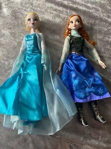 "💖Disney store !6"" Elsa & Anna singing light up dolls excellent condition!💖"