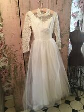 Lovely Antique 1940s-1950s Wedding Dress Lace Tulle Fabric Skirt #S