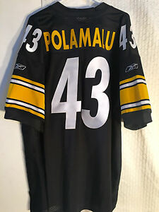 Reebok Authentic NFL Jersey PITTSBURGH Steelers Polamalu Black sz 52