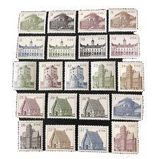 IRELAND, SCOTT # 537-552(16)+638-642(5), 1982-90 IRISH ARCHITECTURE ISSUE MNH