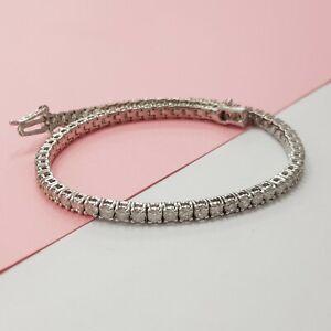 3.00ct round cut white gold 14k diamond tennis bracelet  NOT ENHANCED