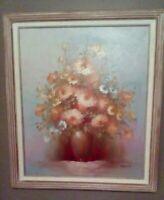 Vintage Floral Still Life Oil Painting Signed DAVIS Vase Matted & Framed Canvas