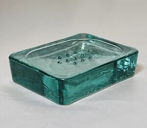 Recycled Glass Aqua Green Soap Dish - Heavy - Farmhouse- Industrial - Rustic