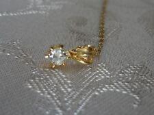 Regalo Natale! pendente diamante solitario naturale 0,25ct oro giallo punto luce