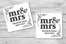 Pair Set of 2 Personalised Mr & Mrs Wedding Day Drink Coasters Gift Set Present.
