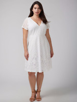 Lane Bryant Lace Fit & Flare Dress 14 16 18 20 22 24 26 28 White 1x 2x 3x 4x