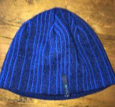 Bula Knit Beanie Hat Vertical Stripes Blue Fleece Lined Wool Acrylic One  Size 71a8e01e7ac0