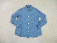 Tommy Bahama Button Up Shirt Womens Small Blue Linen Long Sleeve Ladies B37