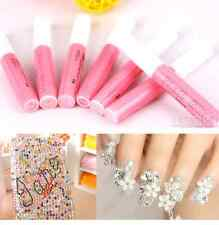 FD722 Beauty Professional Acrylic Glue Decorate Tips Pink Nail False Art ~3pcs/