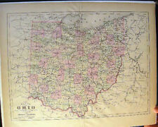 1894 OHIO MAP HAND COLORING JOHNSON