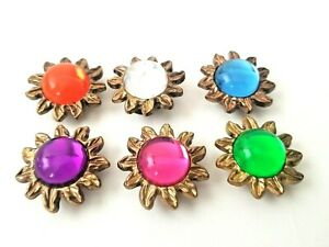 6 VTG Floral Button Covers Blue Clear Green Orange Pink Purple Gold Tone Flowers