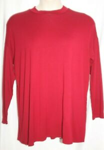 EILEEN FISHER RUMBERRY Red VISCOSE JERSEY Mock NECK TOP PETITE LARGE
