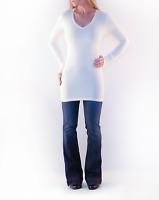 Womens Misses Solid White Long Sleeve V-Neck Designer Tunic T-Shirt M, Medium