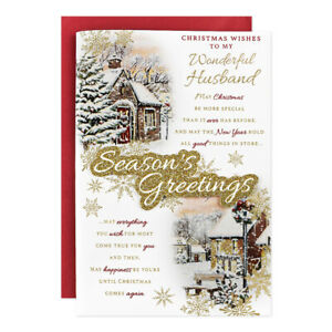 HUSBAND CHRISTMAS CARD ~ LARGE SIZE QUALITY CARD ~ WINTER DESIGN NICE VERSE