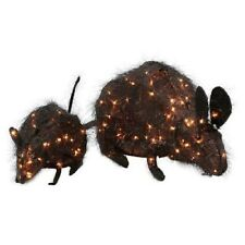2.6' Lighted Tinsel Mouse Set - Halloween Yard Decoration Prop Rat Rodent