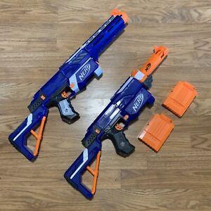 Lot Of Nerf N-Strike Elite RETALIATOR Blue Blaster Dart Gun Pair Set