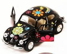 "New 5"" Kinsmart 1967 Volkswagen Beetle w/ Flowers Decal Diecast Model 1:32 Black"