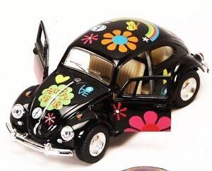"New 5"" Kinsmart 1967 Volkswagen Beetle w/ Flowers Decal Diecast Model 1:32 Black"