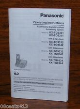 Panasonic Home Telephone Operating Instructions/Manual For KX-TG9331 & More!