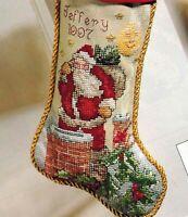 ✔️ ROOFTOP SANTA CLAUS CHRISTMAS STOCKING St Nick Cross Stitch Chart Ann Stanton