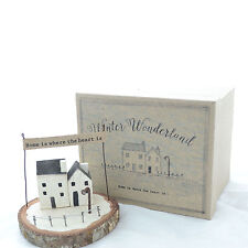 East of India Winter Wonderland HOME IS Wood Wooden RUSTIC Ornament HOME Decor