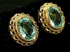 E066 Genuine 9ct SOLID Rose Gold NATURAL Topaz Stud Earrings good 8x6mm gems
