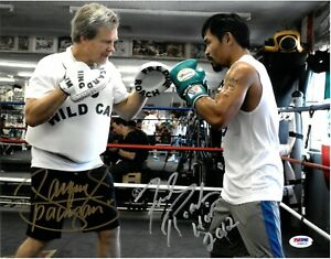 Manny Pacman Pacquiao Fred Roach Dual Signed 11X14 Photo Autographed PSA/DNA LOA