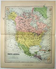 Original Map of North America by W&R Chambers 1868. Stone Chromo-Lithograph