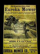 New Listing1886 Eureka Mower Farm Implements Engraving Advertising - Utica - New York